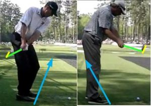 Matt Kuchar has a low, shallow takeaway and a flat backswing plane.  Freddie Couples has a high, abrupt takeaway and an upright backswing plane.