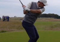 Rory McIlroy down the line right elbow returns to side